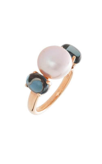 Mimí Leela Rose Gold, Blue Topaz and Violet Pearls Ring (O262R3T)