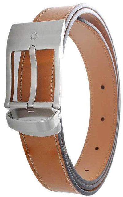Montblanc Contemporary Collection Belt Palladium Buckle and Tan Leather (09789)