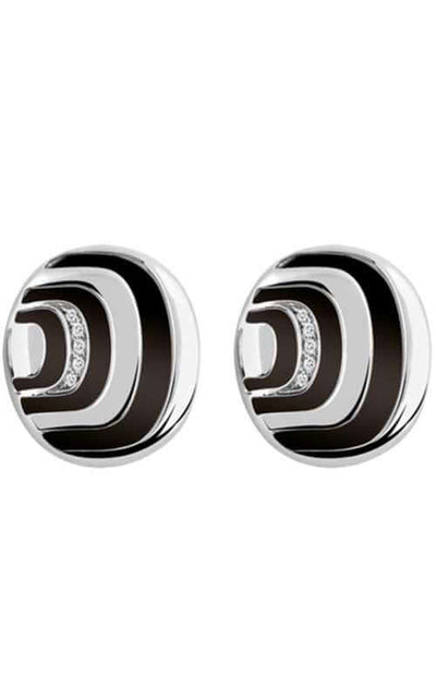 Damiani Damianissima Collection Earrings Sterling Silver, Diamonds and Onyx (20045649)