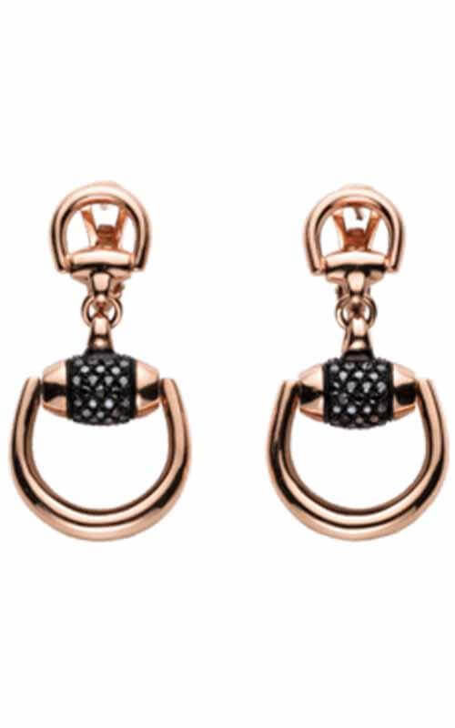7a38ecf40 Gucci Horsebit Earrings, 18kt Rose Gold, Black Diamonds (YBD272888001)