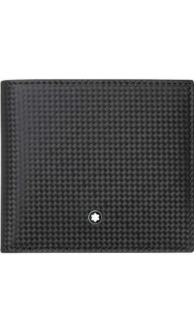 Montblanc Extreme Wallet 4CC with Coin Case Woven Carbon Black Leather (111281)