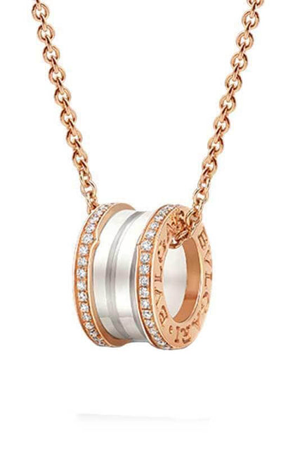 Bulgari B.Zero1 Necklace Pink Gold, White Ceramic and Diamond CL856794