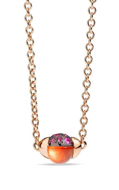 Pomellato M'ama Non M'ama Necklace Hessonite Garnet, Pink Sapphires and Rose Gold (F.B502TO7ZTGE)