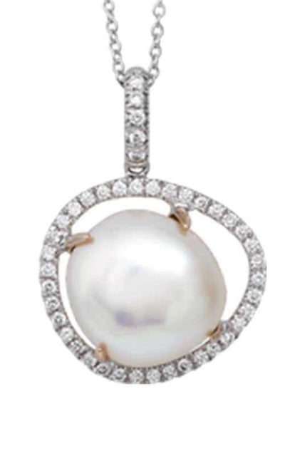Mimi Victoria White Gold, Rose Gold, Pearl & Diamonds Pendant P587C1B