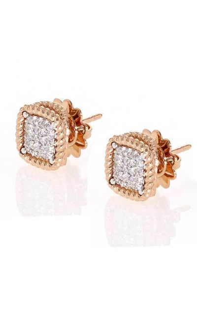 Roberto Coin New Barocco Stud Earrings Rose Gold/Diamond 7771364AHERX