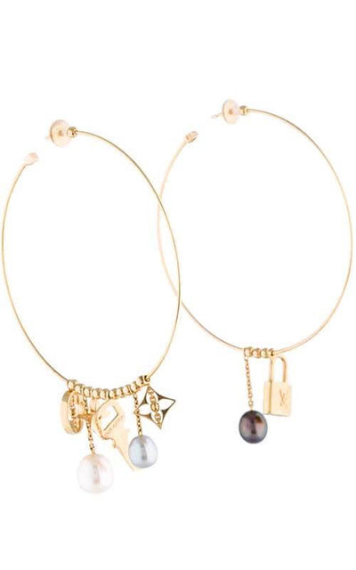 Louis Vuitton Charm and Pearl Hoop Earrings (BJ-CPO-LV-ER) | Bandiera