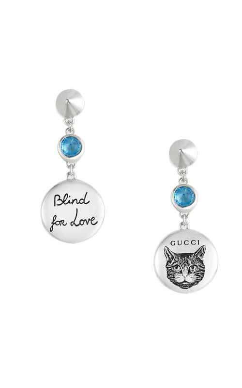 8708ef99c3e Gucci Blind For Love Silver with Blue Zirconi Earrings YBD50210600100U