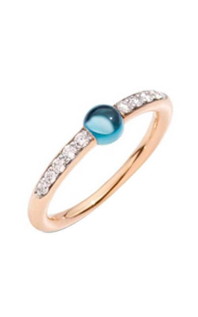 Pomellato Ring M'Ama Non M'Ama London Blue Topaz Diamond A.B703BO7/OY