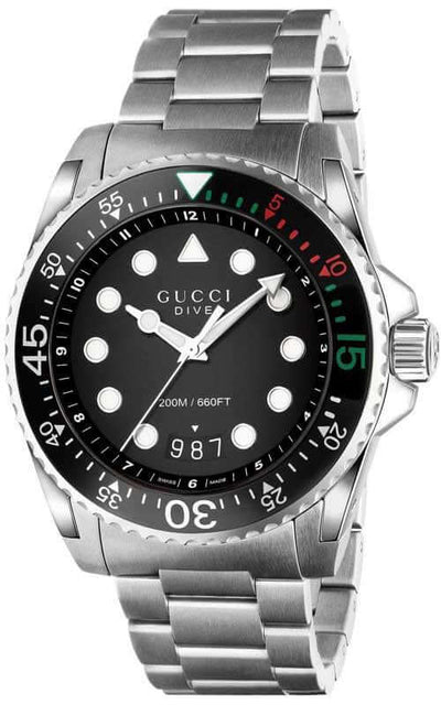 Gucci Dive Date Quartz Mens Watch (YA136208) | Bandiera Jewellers
