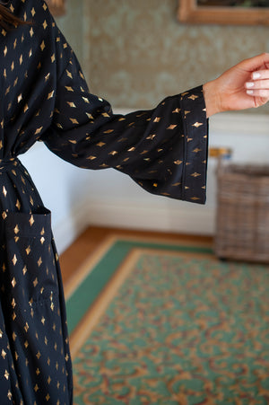 Black Robe With Gold Diamond Foil Print