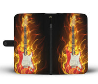 flaming guitar phone wallet