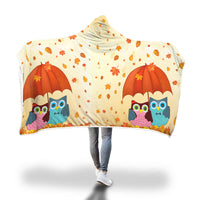 Autumn and Owls hooded blanket