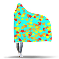 Autumn Leaves blue hooded blanket.