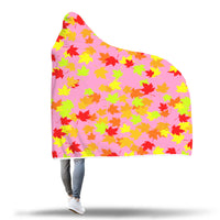 Autumn Leaves pink hooded blanket.