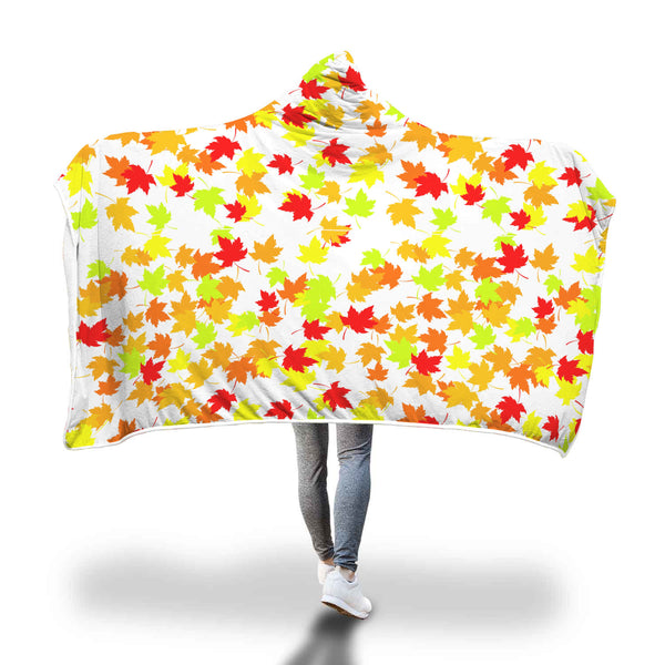 Autumn Leaves white hooded blanket.