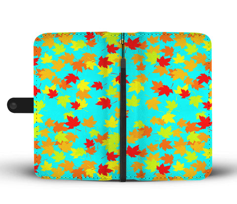Autumn Leaves blue Phone Wallet Case