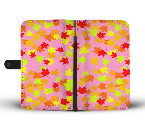 Autumn pink phone wallet