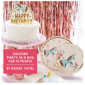 Unicorn Birthday Party Supplies - Believe in Unicorns Cups, Plates & Napkins 61-Piece Set - Good for 12 People - with Happy Birthday Cake Topper for Cake Decoration