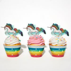 Rainbow Unicorn Cupcake Decorations - Unicorn Party Supplies - Set of 24 Pieces Cupcake Topper and 24 Pieces Cupcake Wrapper - Good for 24 Cupcakes