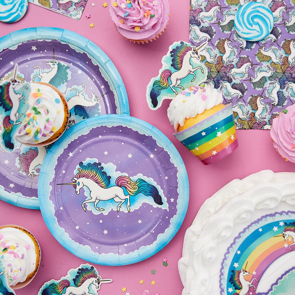 Unicorn Birthday Party Supplies - Party Kit of Unicorn Rainbow Cups, Plates, & Napkins - 61 Pieces, Settings for 12 - Cake Topper for Cake Decoration
