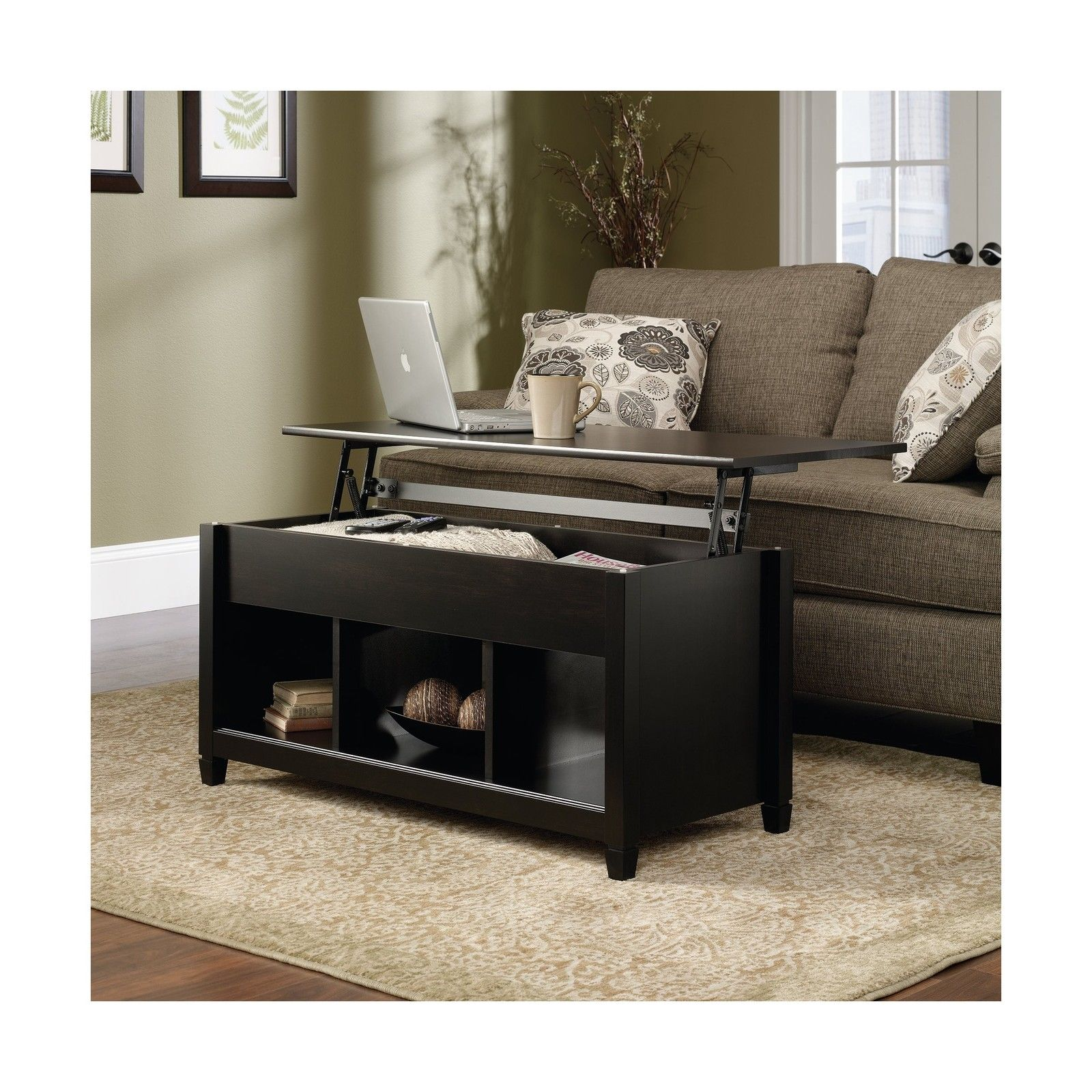 Sauder Edge Water Lift Top Coffee Table Estate Black Finish