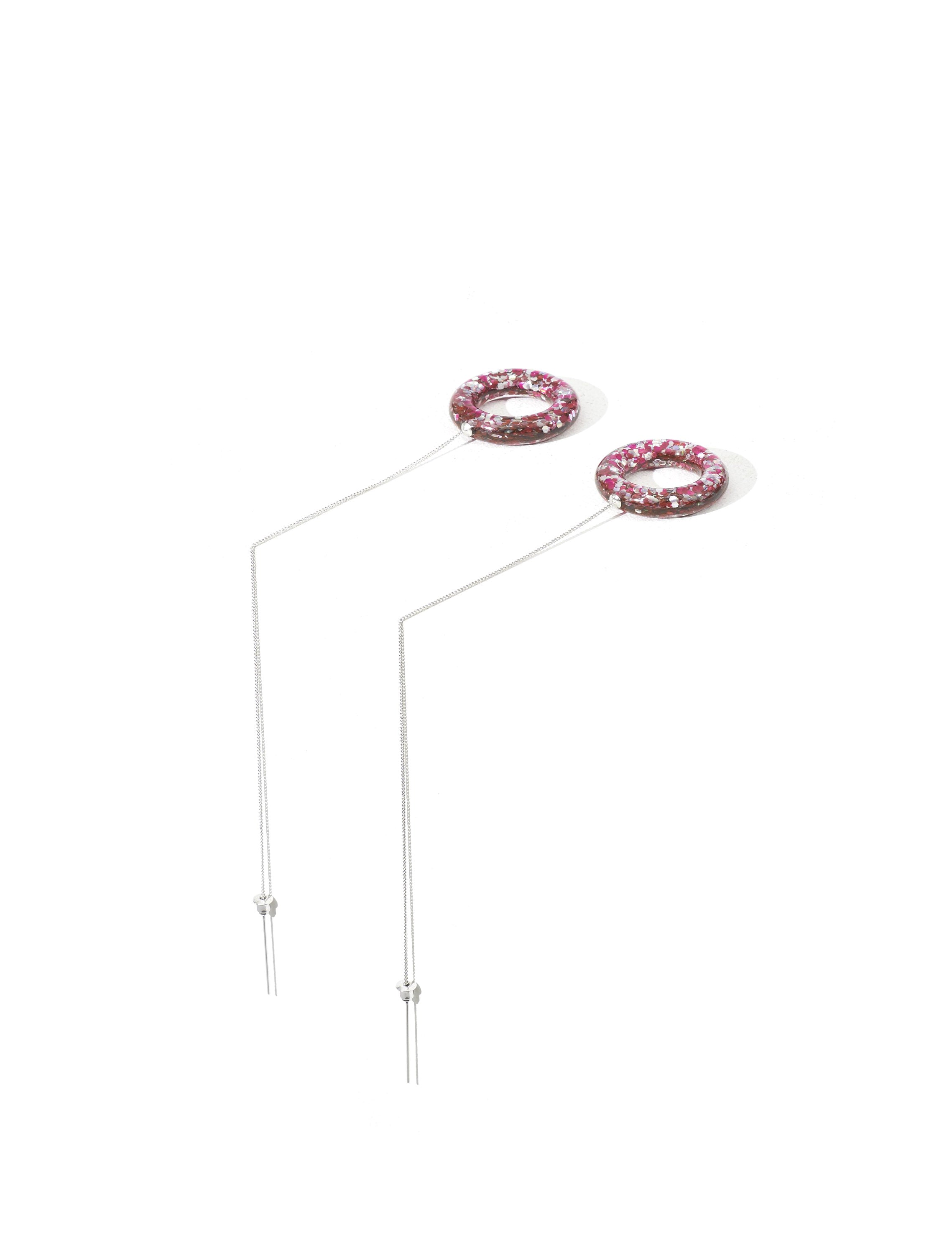 Toga Pulla Pink Acrylic Drop Hoop Earrings