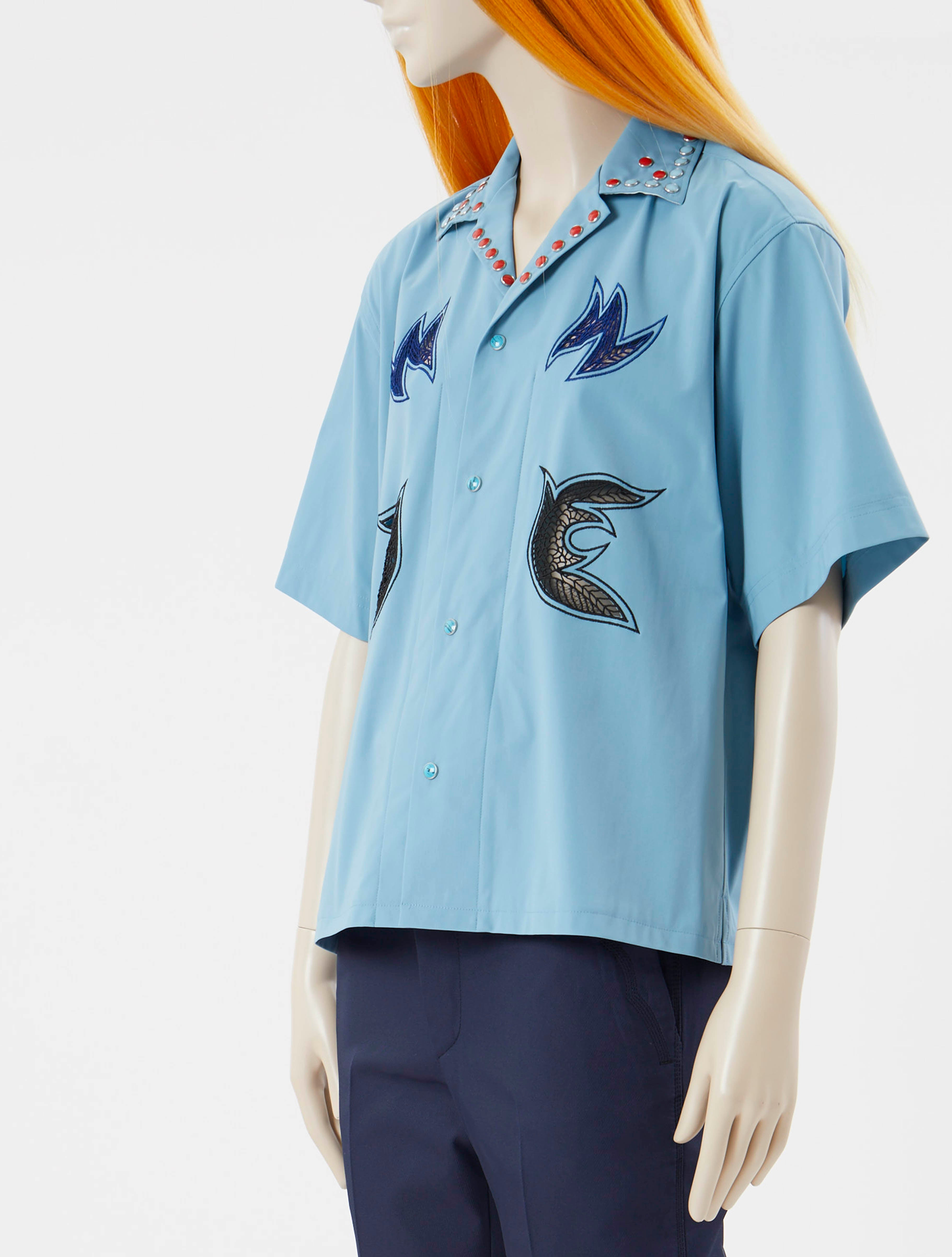 Embroidery Shirt Blue
