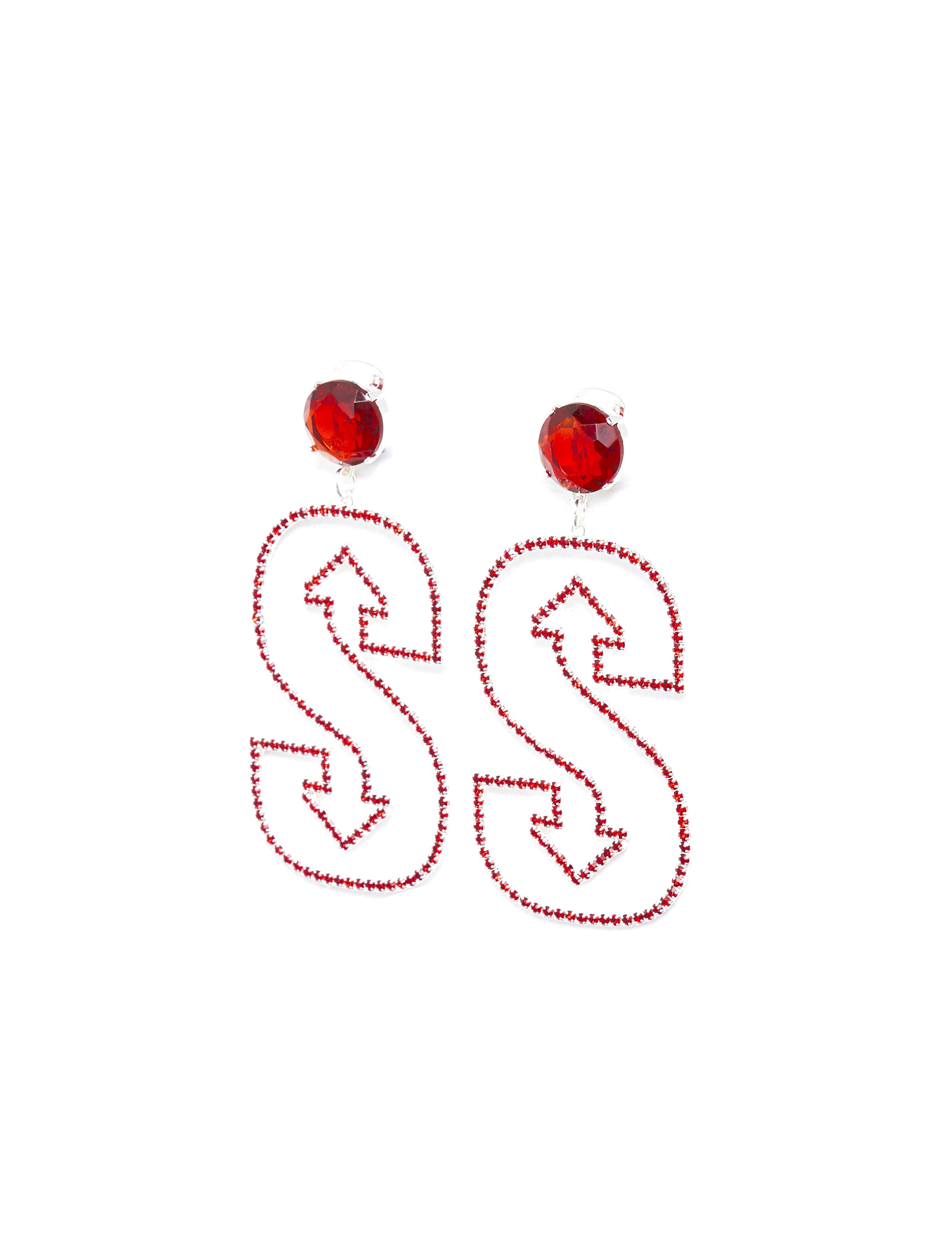 "Red ""S"" Earring"