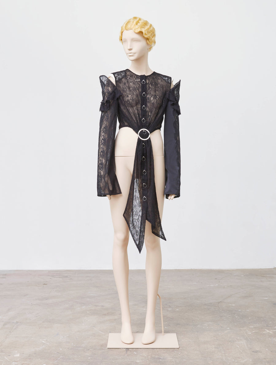 Neith Nyer Black Silk Lace Shirt