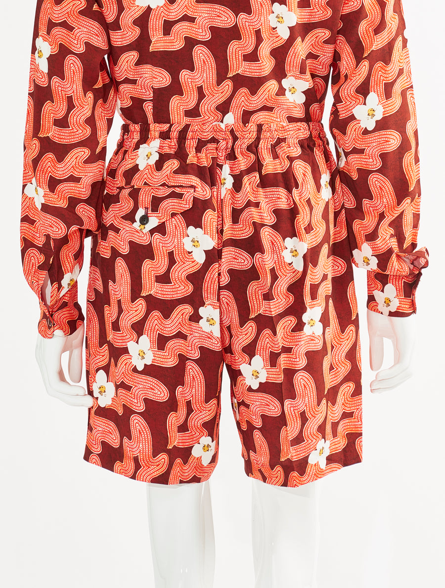 Toga Virilis Red Print Rayon Short Pants