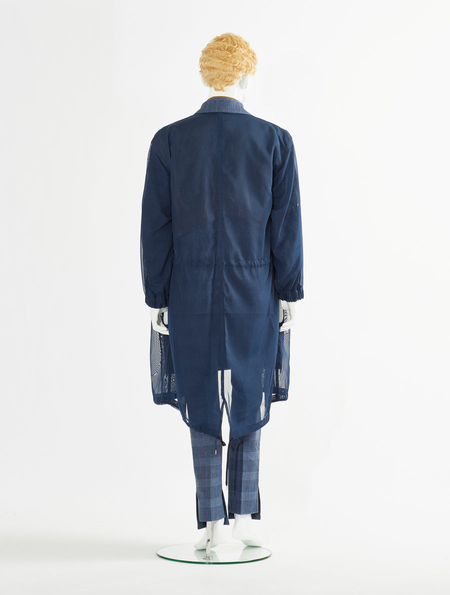 Toga Virilis Blue Cotton Linen Coat