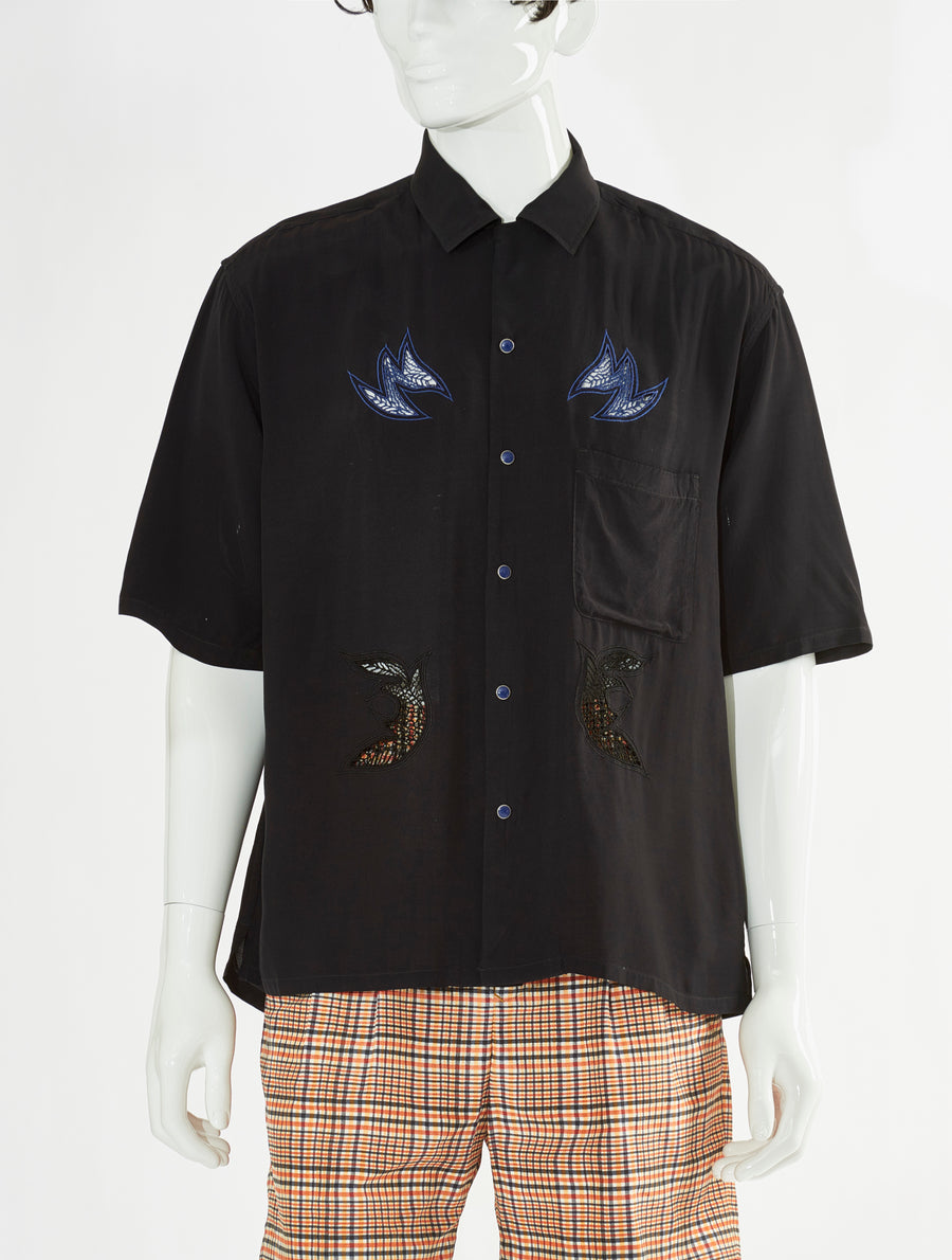 Toga Virilis Black Embroidery Shirt