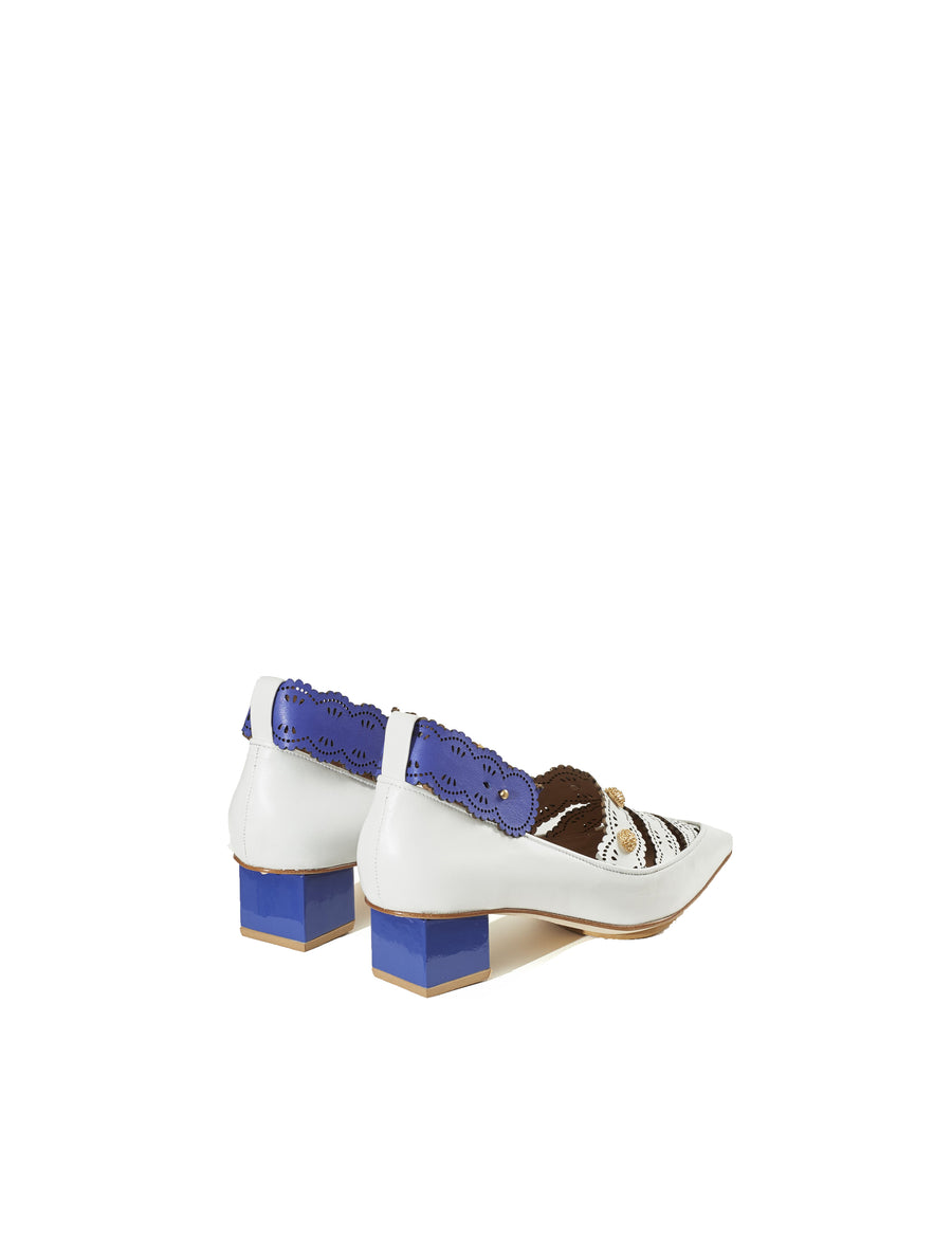 Rue St Castelo White Blue Leather