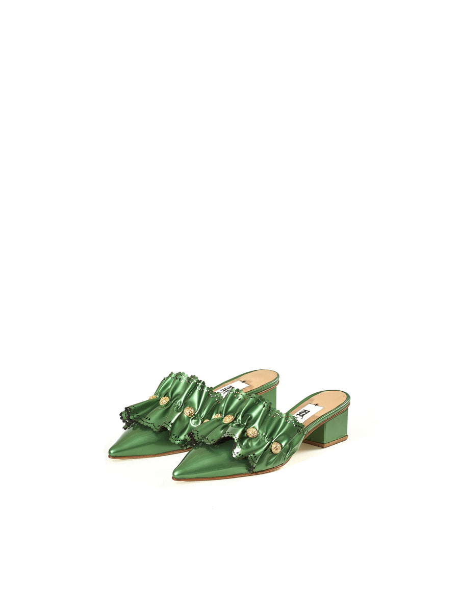 Rue St Padaria Green Metallic Leather