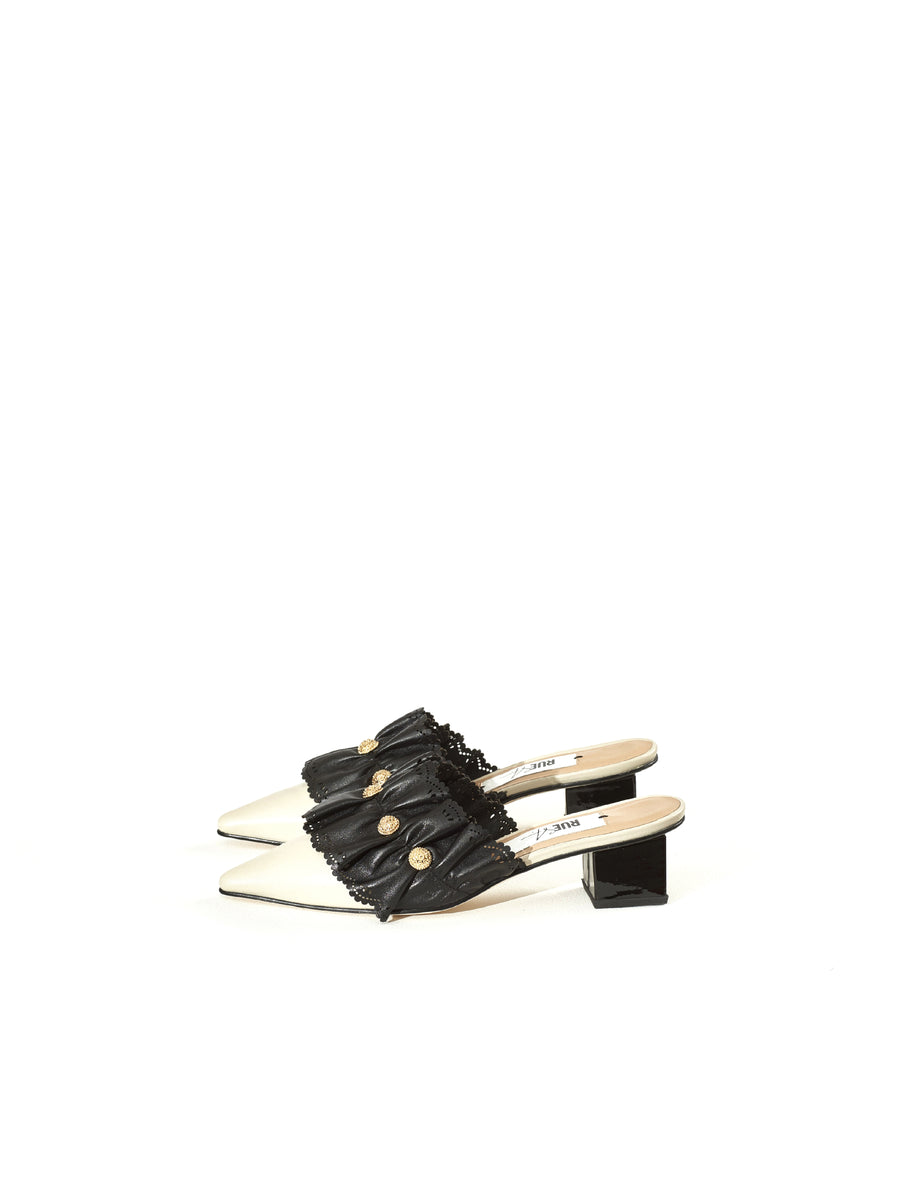 Rue St Padaria Beige Black Leather