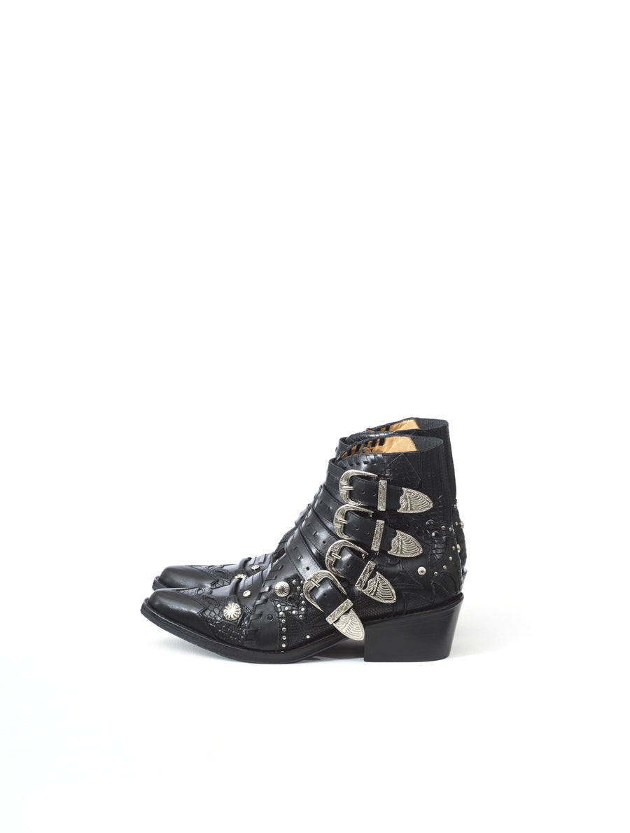 Toga Pulla Classic Black Leather Ankle Boot