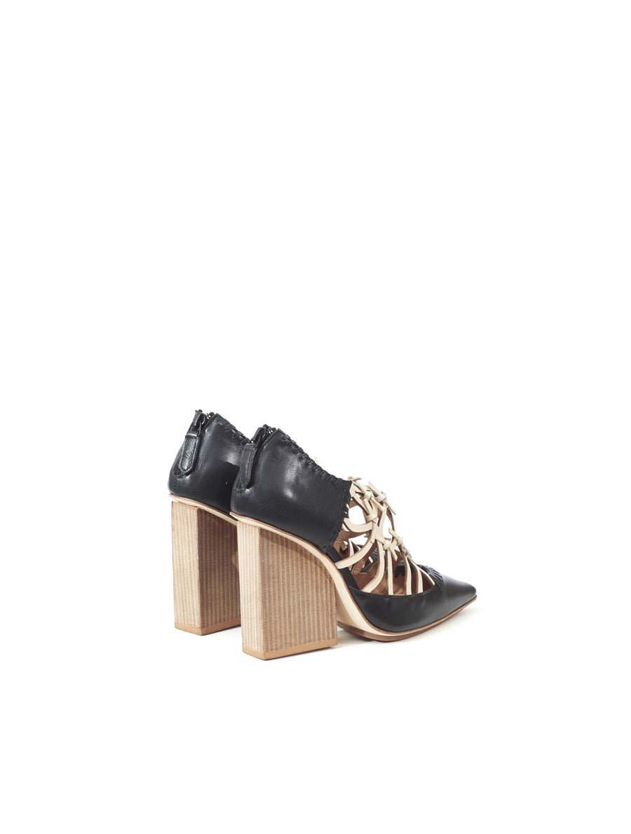 Rue St Albertina Black Leather Heel