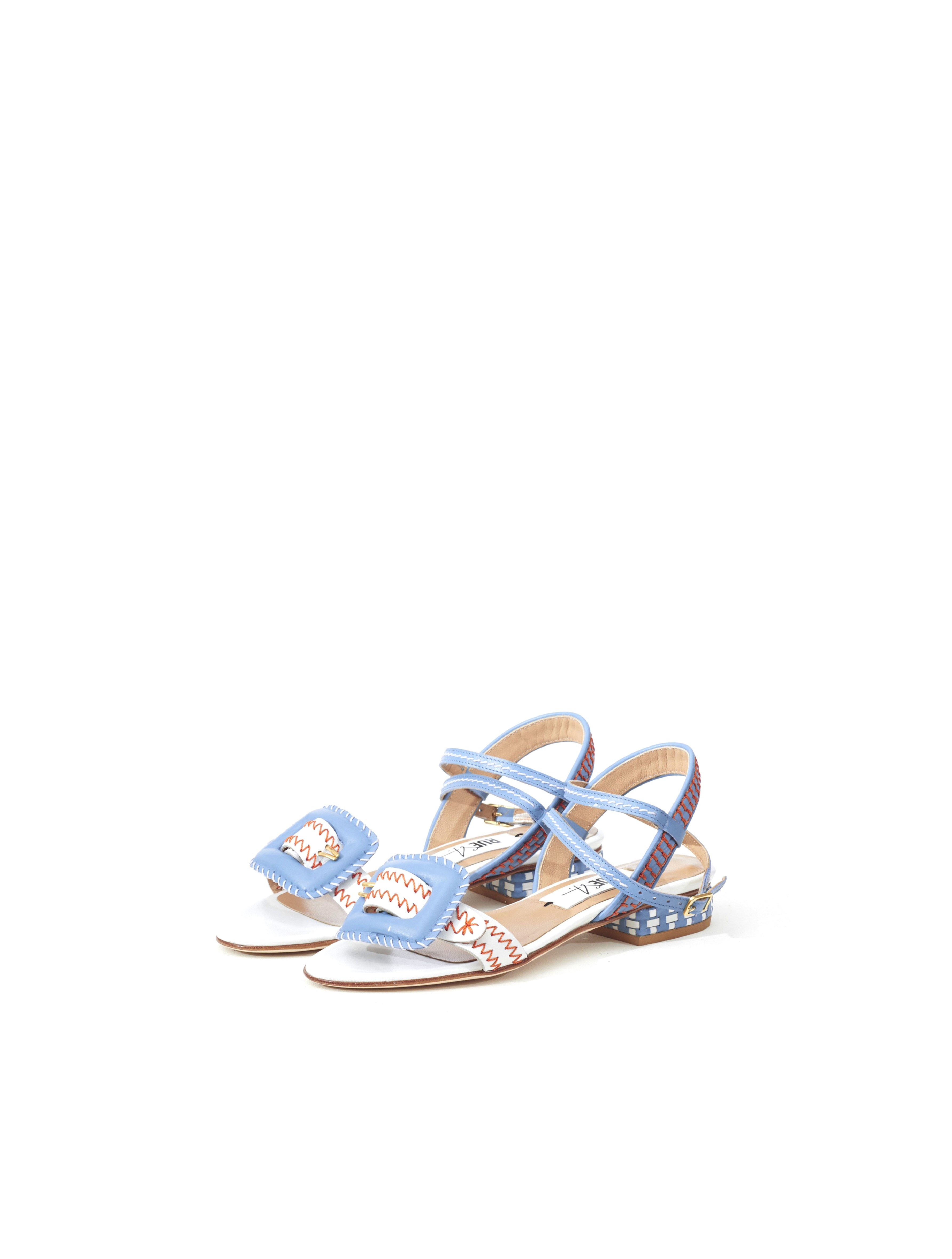 Miguel Blue White Leather Sandal
