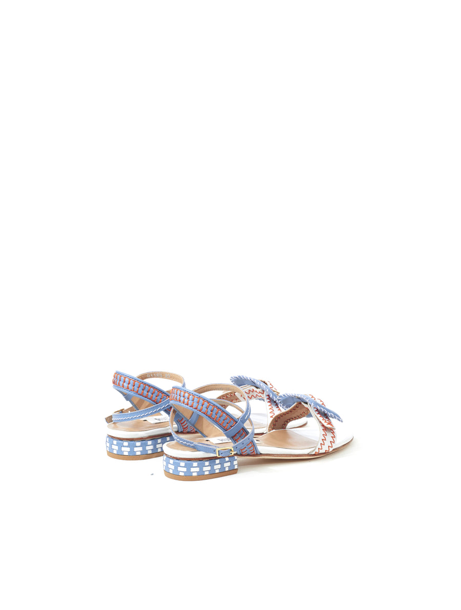 Rue St Miguel Blue White Leather Sandal