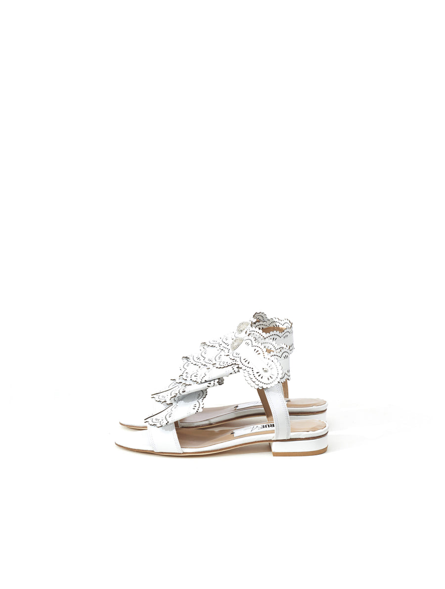 Rue St Trinidad White Leather Sandal