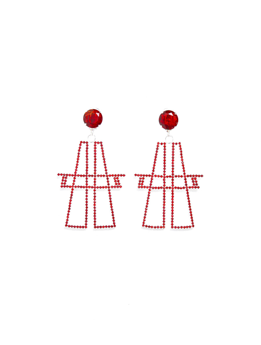 "ART SCHOOL Red ""A"" Earing"