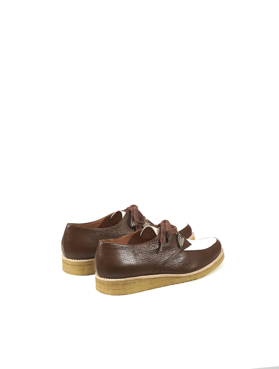 Toga Virilis Brown White Grainy Leather Shoes