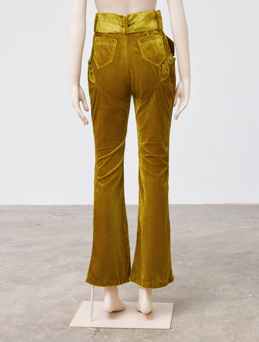 Neith Nyer Olive Green Velvet Pant