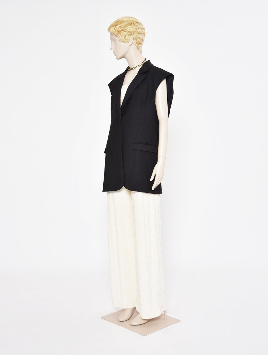 Sleeveless Oversized Bias Cut Suit Jacket