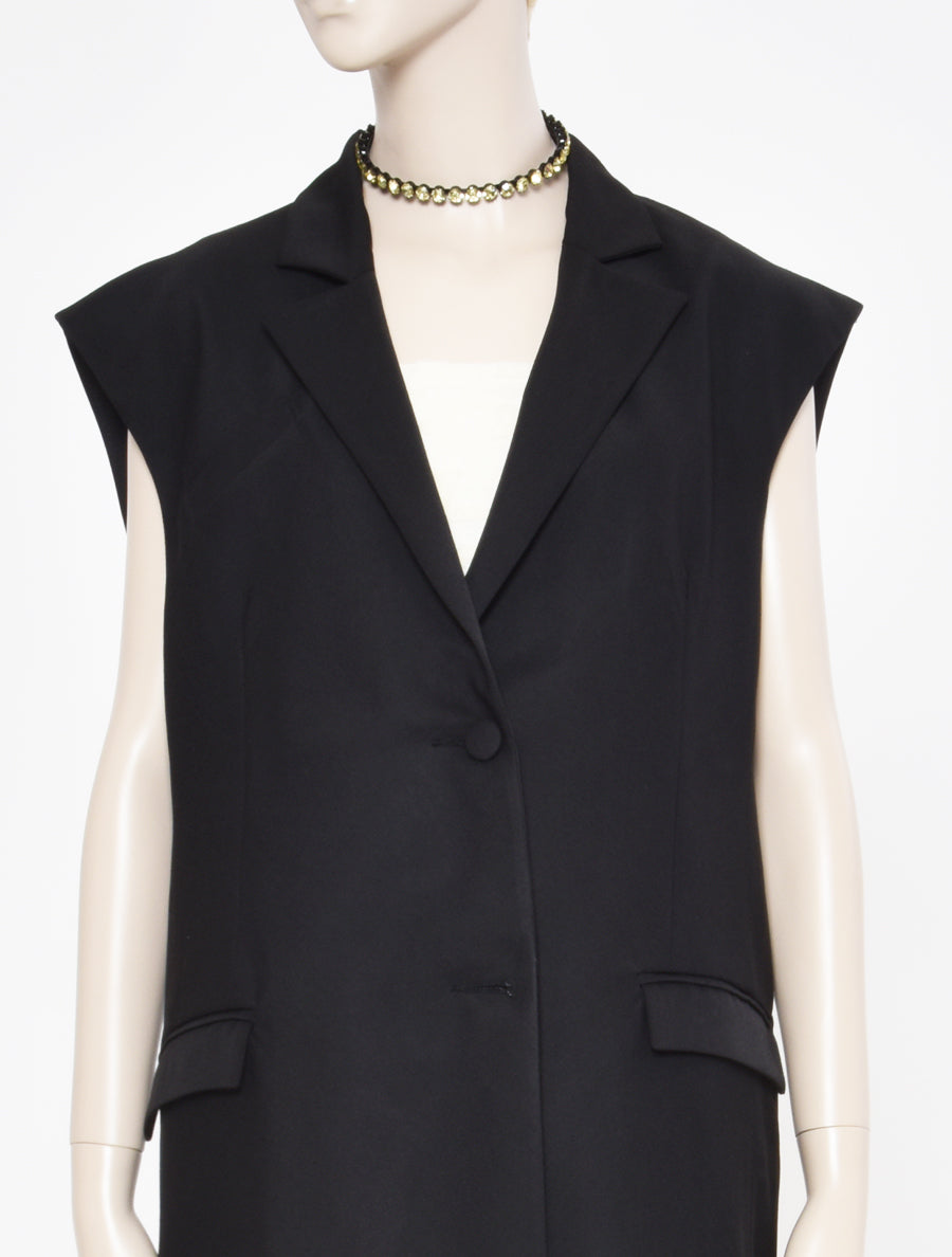 ART SCHOOL Sleeveless Oversized Bias Cut Suit Jacket