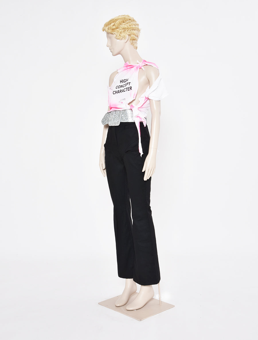 'High Concept Character' Cropped Shredded T-Shirt
