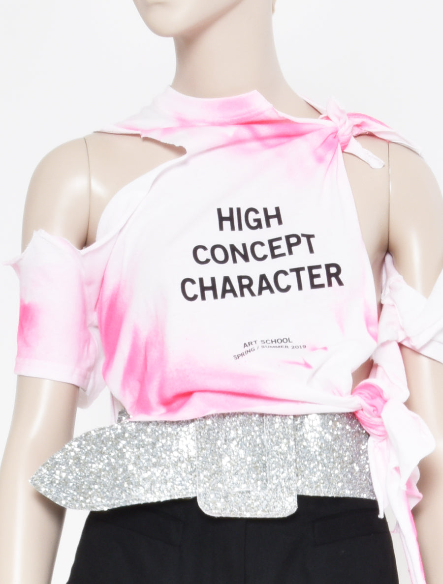 ART SCHOOL 'High Concept Character' Cropped Shredded T-Shirt