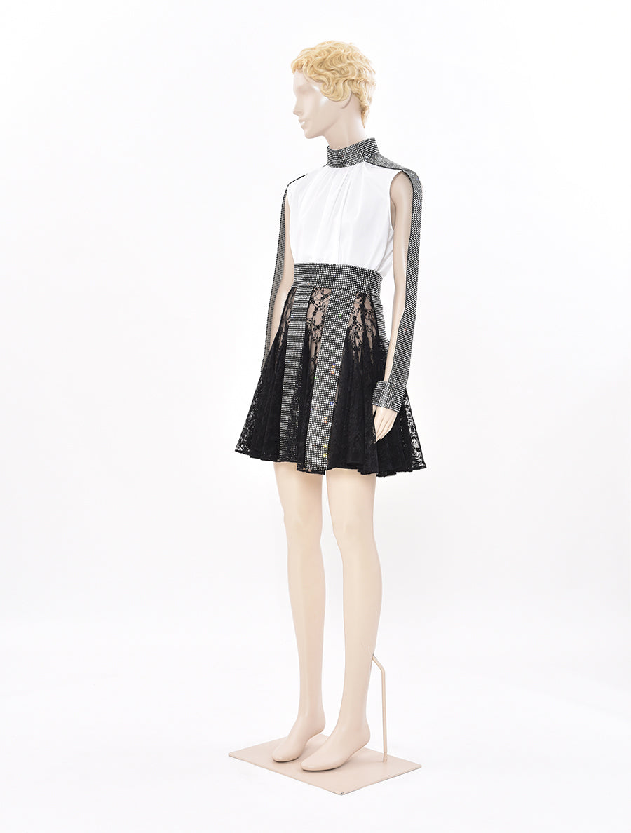 Christopher Kane Crystal Lace Mini Skirt