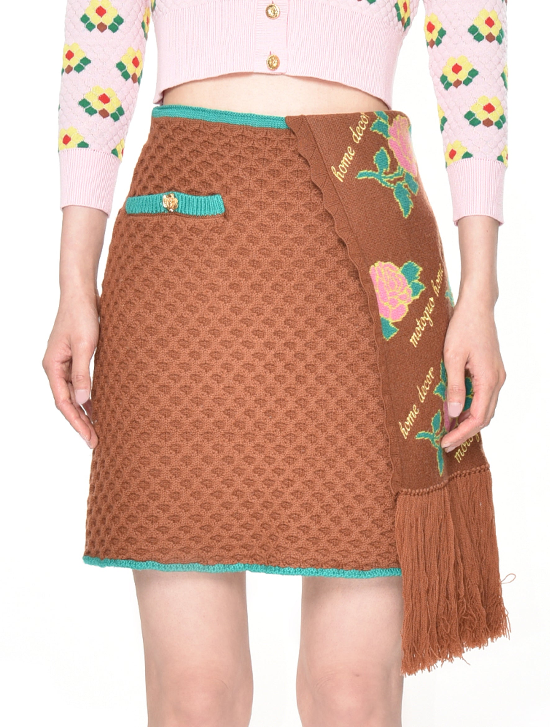 Motoguo Brown TV Time Knitted Skirt