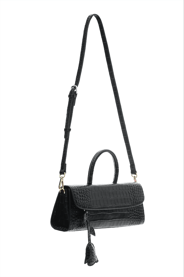 Croc-embossed leather satchel bag